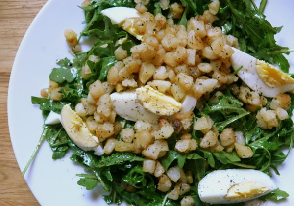 mustard-dressed arugula, fried potatoes and egg salad