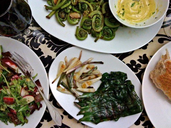 grilled ramps, fiddleheads in browned butter garlic sauce w/ white wine vinegar & tarragon dijon sauce