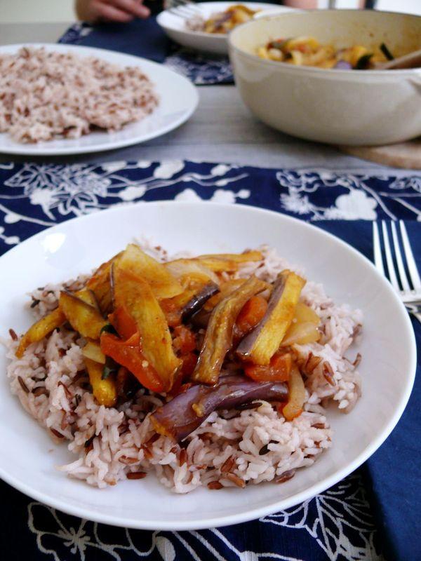 deviled eggplant and wild rice