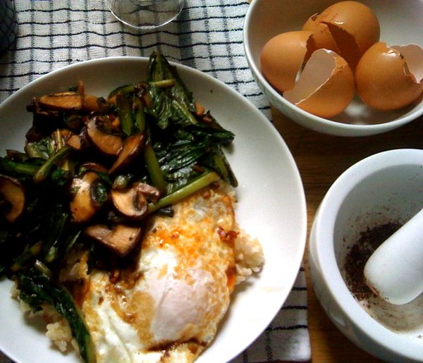 farm fresh eggs, sauteed mushrooms and kale, fresh ground sichuan peppercorns and chili oil