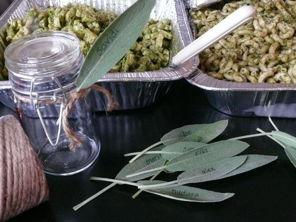 dollar store jars, twine and free sage leaves for personal salad servers
