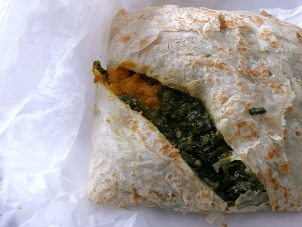 pumpkin and callaloo roti