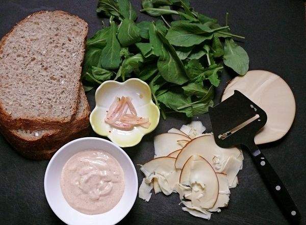 bread, arugula, pickled shallots, smoked gouda
