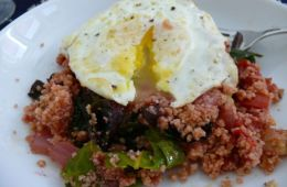 egg on chard and tomato couscous