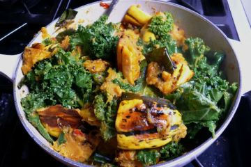 just roasted delicata squash with raw kale