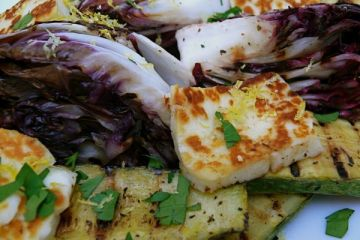 halloumi with grilled radicchio and vegetable marrow