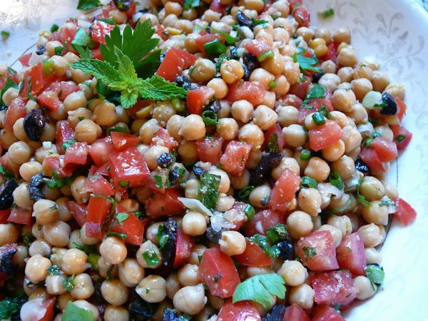 warm chickpea salad with sesame dressing