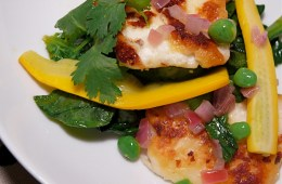 crispy halloumi and summer vegetable salad