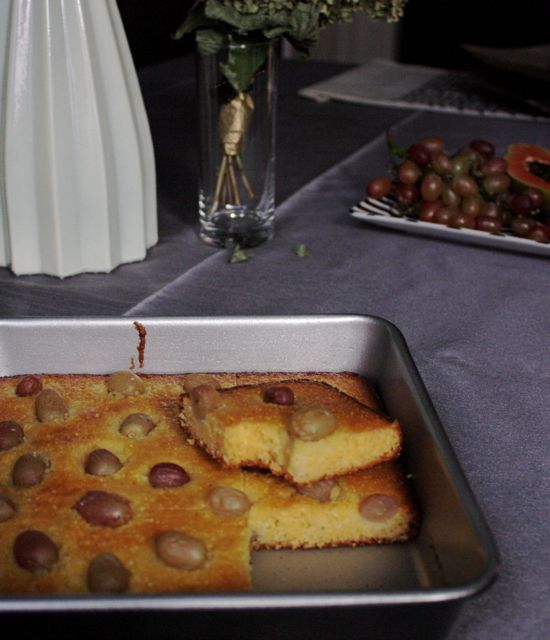 red grape and cornmeal cake