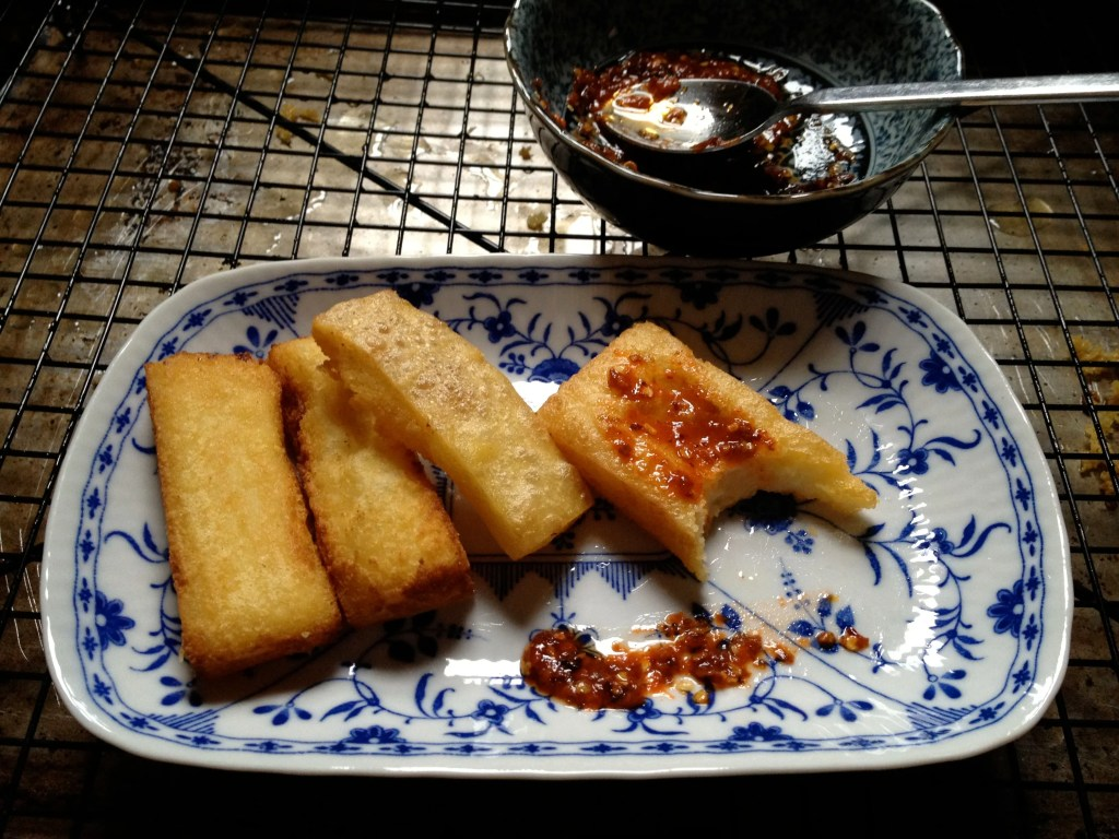 fried shan tofu with chili paste
