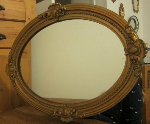 miroir ovale ancien moulure doree