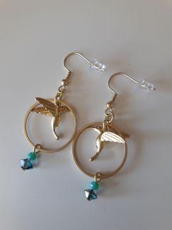 Boucles d'oreilles Colibri doré