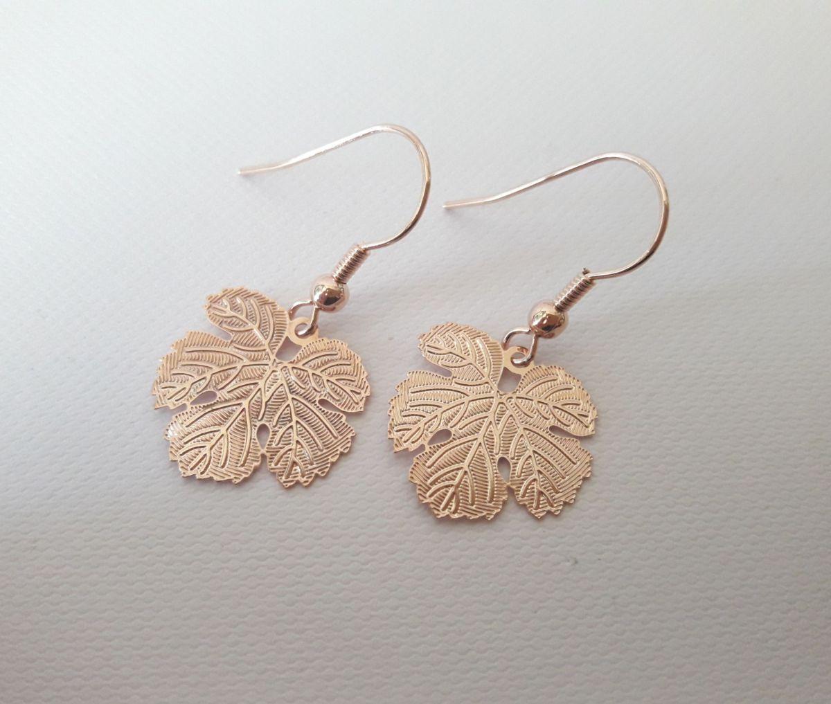 Boucles d'oreilles or rose feuilles de vigne