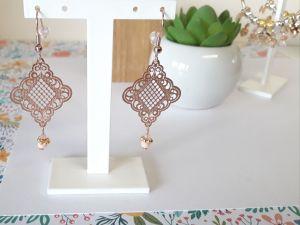 Boucles d'oreilles or rose losange
