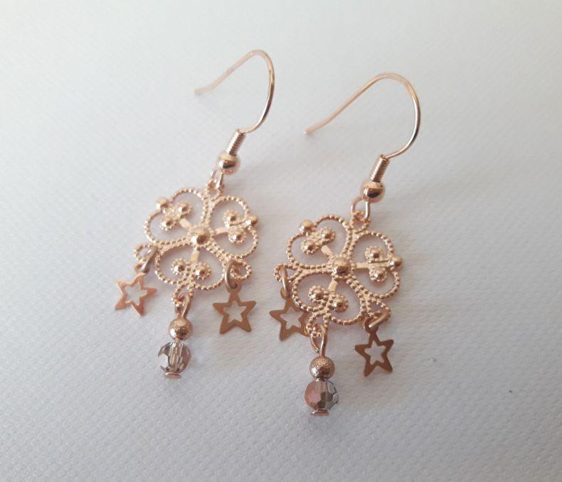 Boucles d'oreilles or rose 3 étoiles