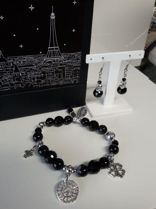 Bracelet Collection Paris et boucles d'oreilles en perle de verres noires
