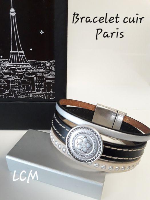 Bracelet cuir italien manchette aimanté femme
