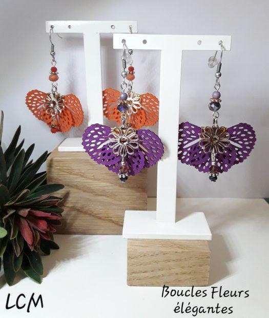 Boucles d'oreilles Fleurs élégantes Violette et Souci