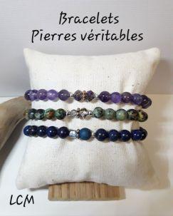 Bracelet femme améthyste , pierre de montagne, lapis lazuli