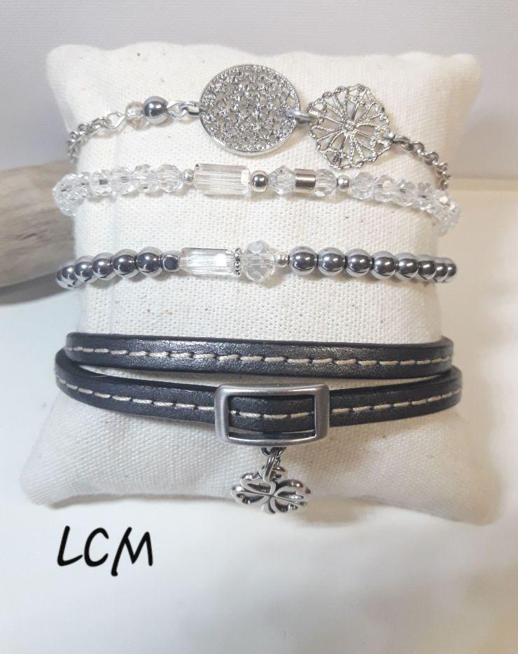 Bijou(x)Bracelet chaîne, cristal , perle de verre et cuir double anthracite