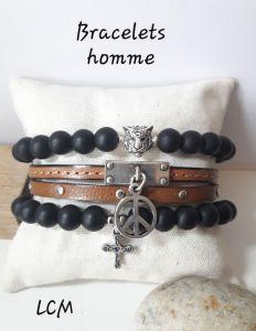 Bracelet onyx noir mat et cuir homme
