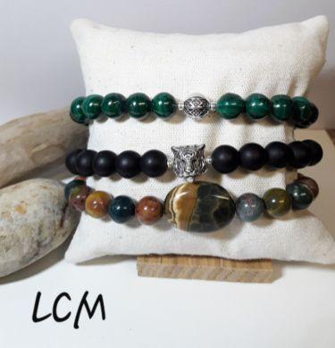 Bracelets pierres véritables Malachite et jaspe 3 couleurs