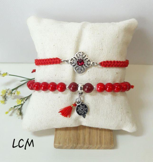Bracelet brésilien Rouge et perle de verre rouge