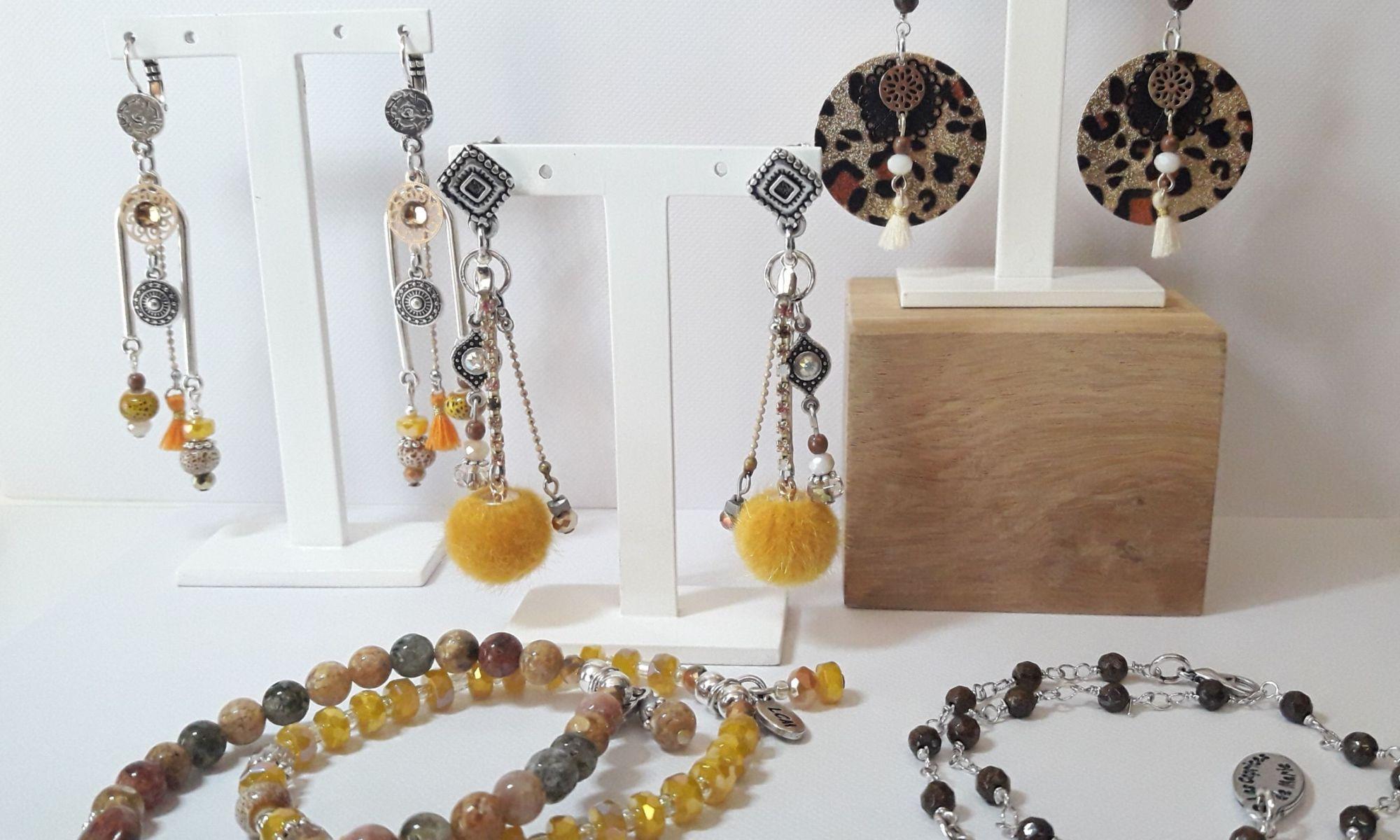 Boucles d'oreilles et bracelets Safari inspiration girafe