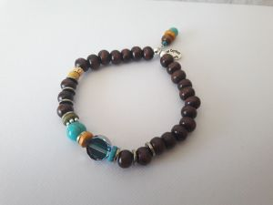 Bracelet perle bois et perles bleu