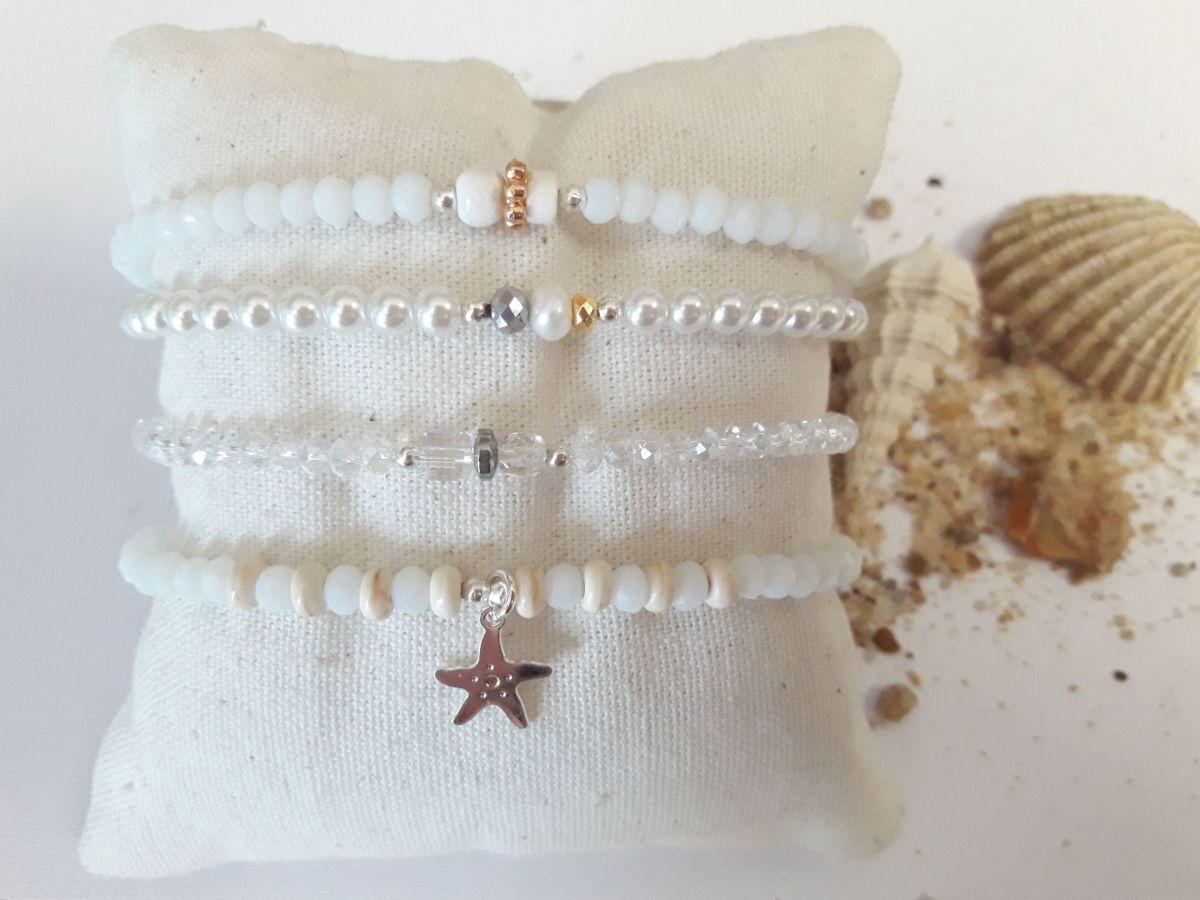 Bracelets associés blanc et nacre