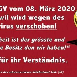 L'Assemblée générale SCS aura PAS lieu le 8 mars 2020 à Zuchwil (SO)