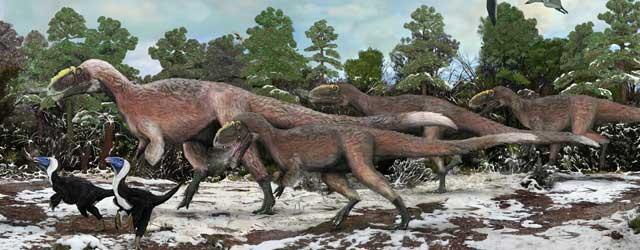 Rirpoduzione artistica di un gruppo di Yutyrannus e due esemplari dei più piccoli Beipiaosaurus <br />(Credit: Dr Brian Choo)