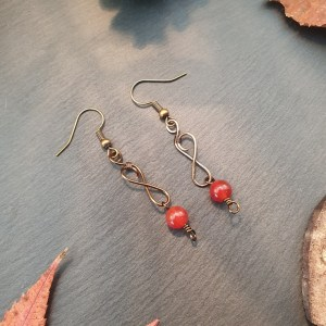 Boucles d'oreilles cornaline wire wrapping
