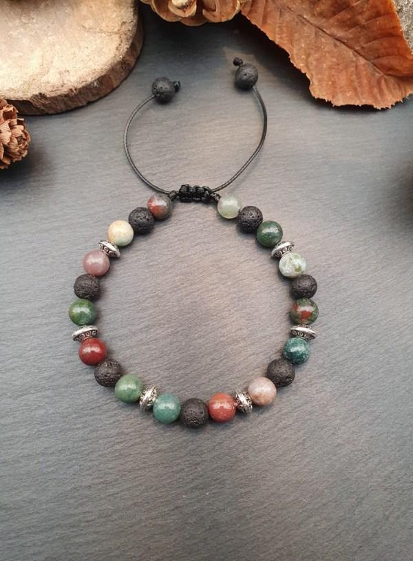 Bracelet agate et pierre de lave