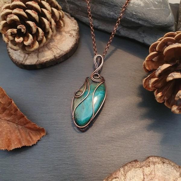 Pendentif pierre gemme chrysocolle
