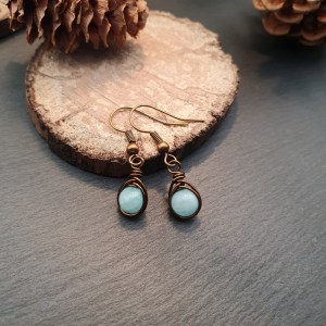 boucles d'oreilles amazonite wire wrapping