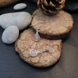 boucles d'oreilles quartz rose argentées