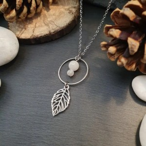 Collier perles pierre de lune acier inoxydable