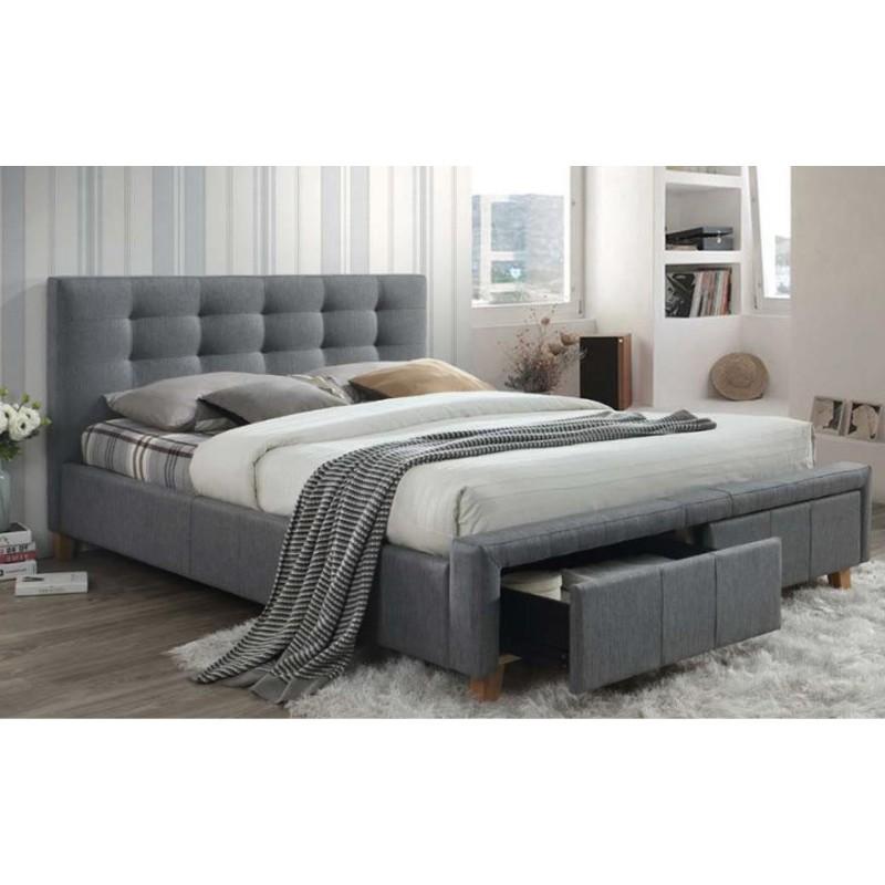 lit rembourre 2 places 160 cm x 200 cm avec tiroirs gris carellia