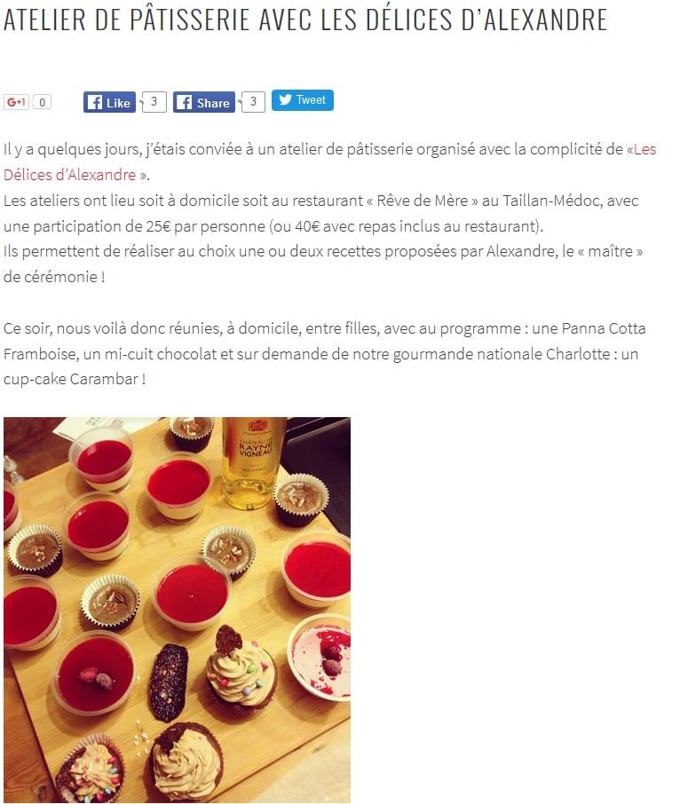 Les Délices d'Alexandre Cours de Patisserie Bordeaux
