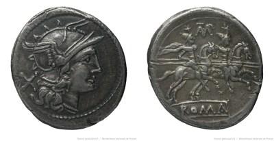 538BA – Denier Baebia – Cnaeus Baebius Tampilus