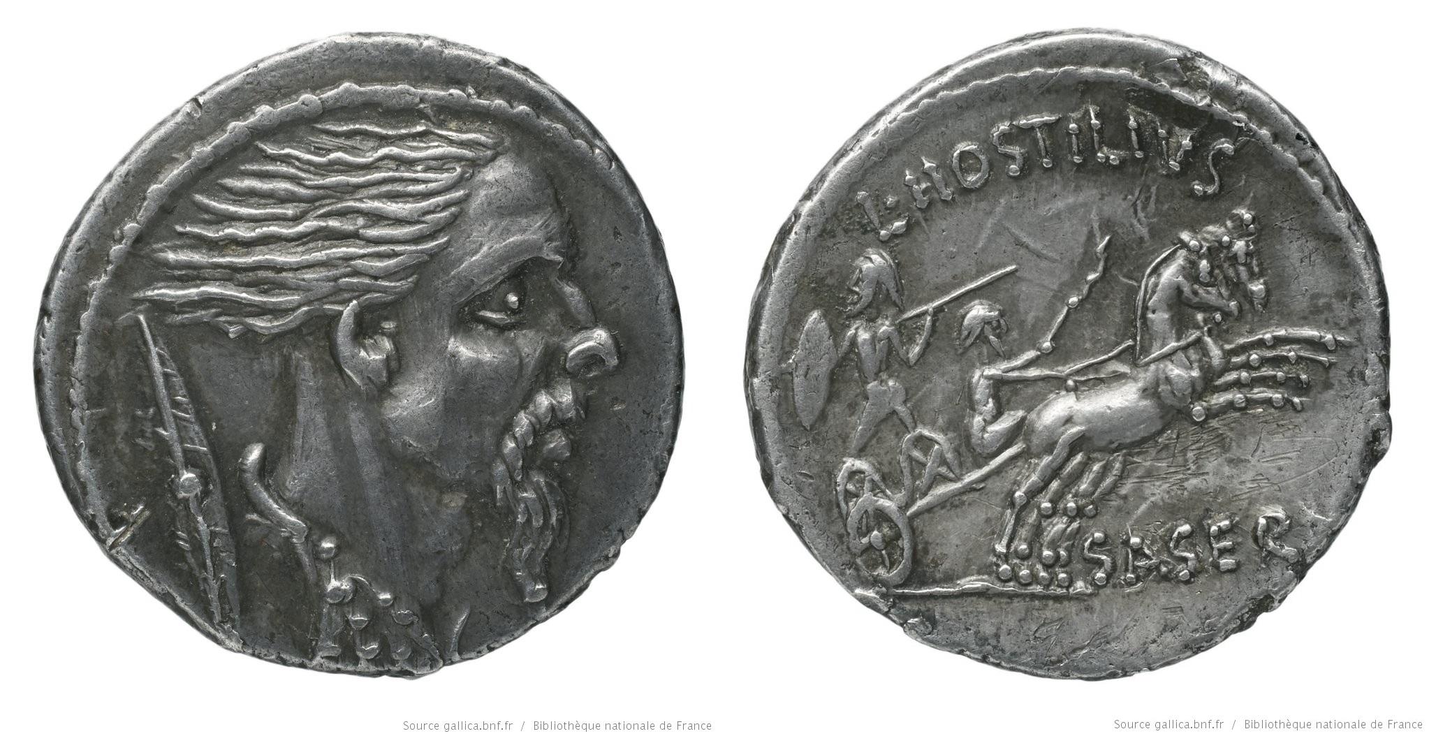 1432HO – Denier Hostilia – Lucius Hostilius Saserna