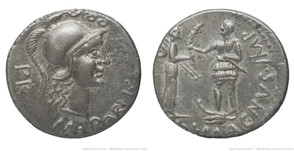 1494PO – Denier Pompée le jeune – M. Poblicius