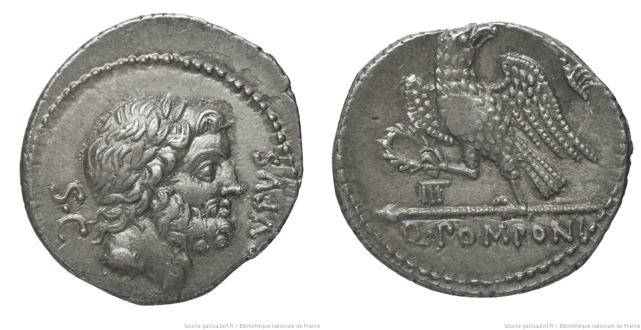 1340PO – Denier Pomponia – Quintus Pomponius Rufus