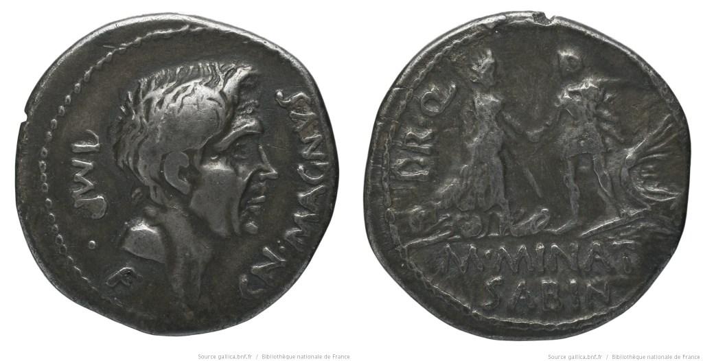 1495PO – Denier Pompée le jeune – M. Minatius Sabinus