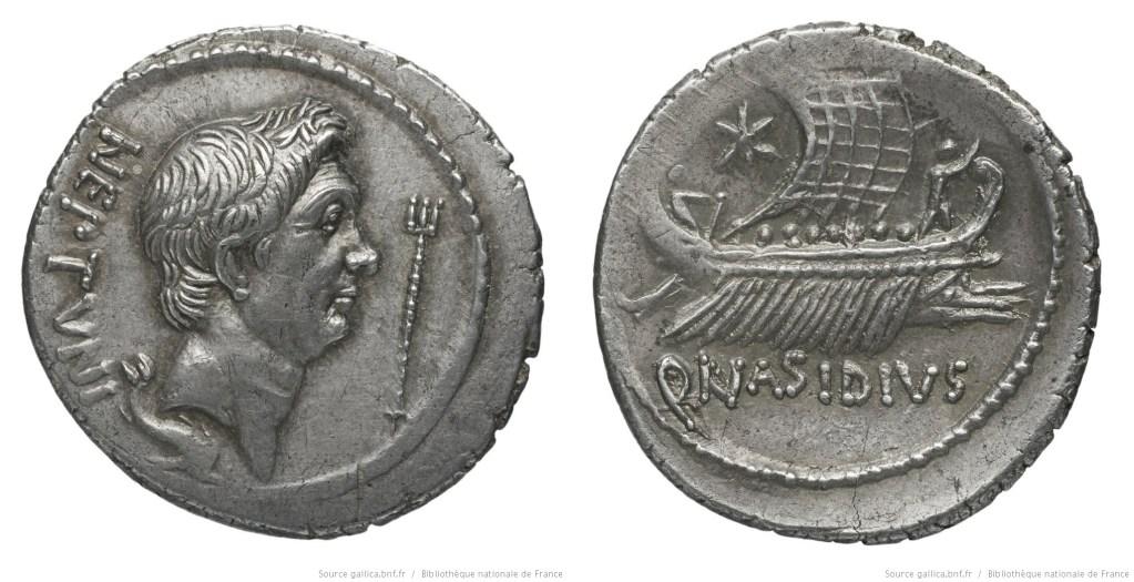 1553PO – Denier Sextus Pompée – Quintus Nasidius