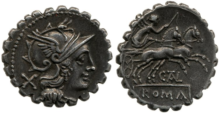 821JU – Denier Serratus Juventia – Caius Juventius Talna