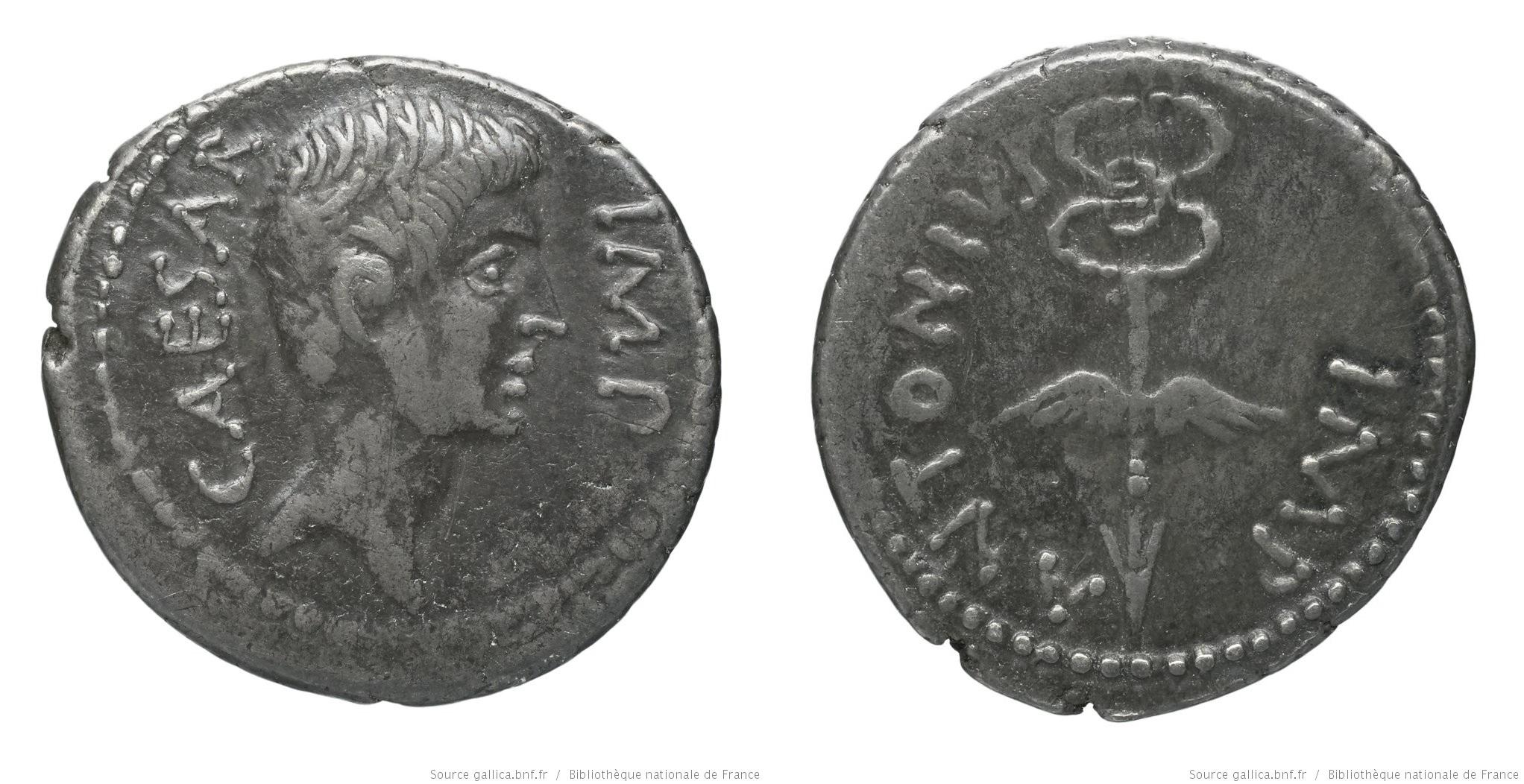 1721JU – Denier Octave et Marc Antoine – Caius Julius Cæsar Octavianus