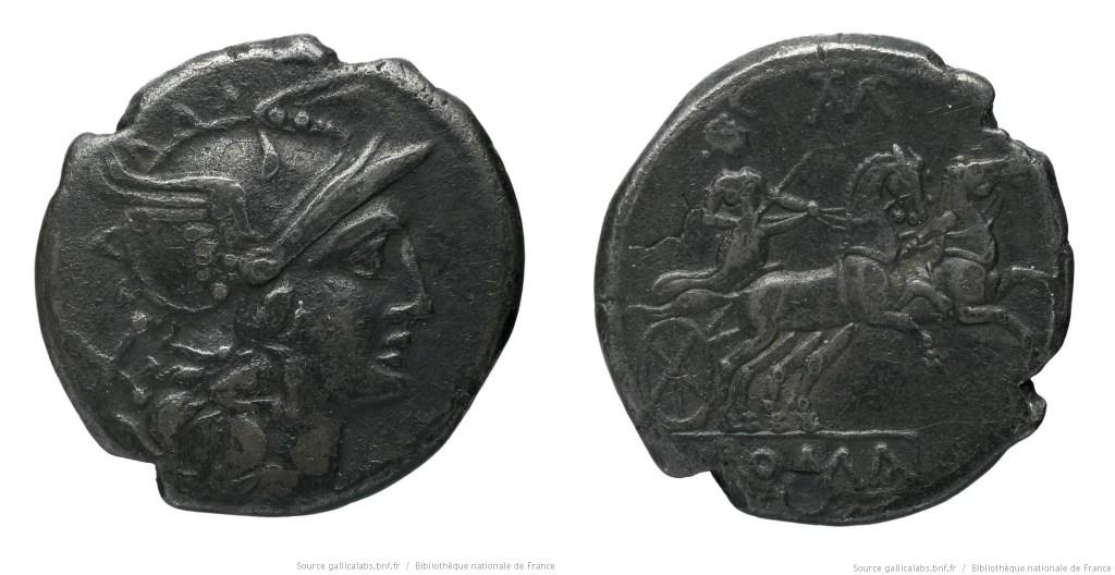 539BA – Denier Baebia – Cn. Baebius Tampilus