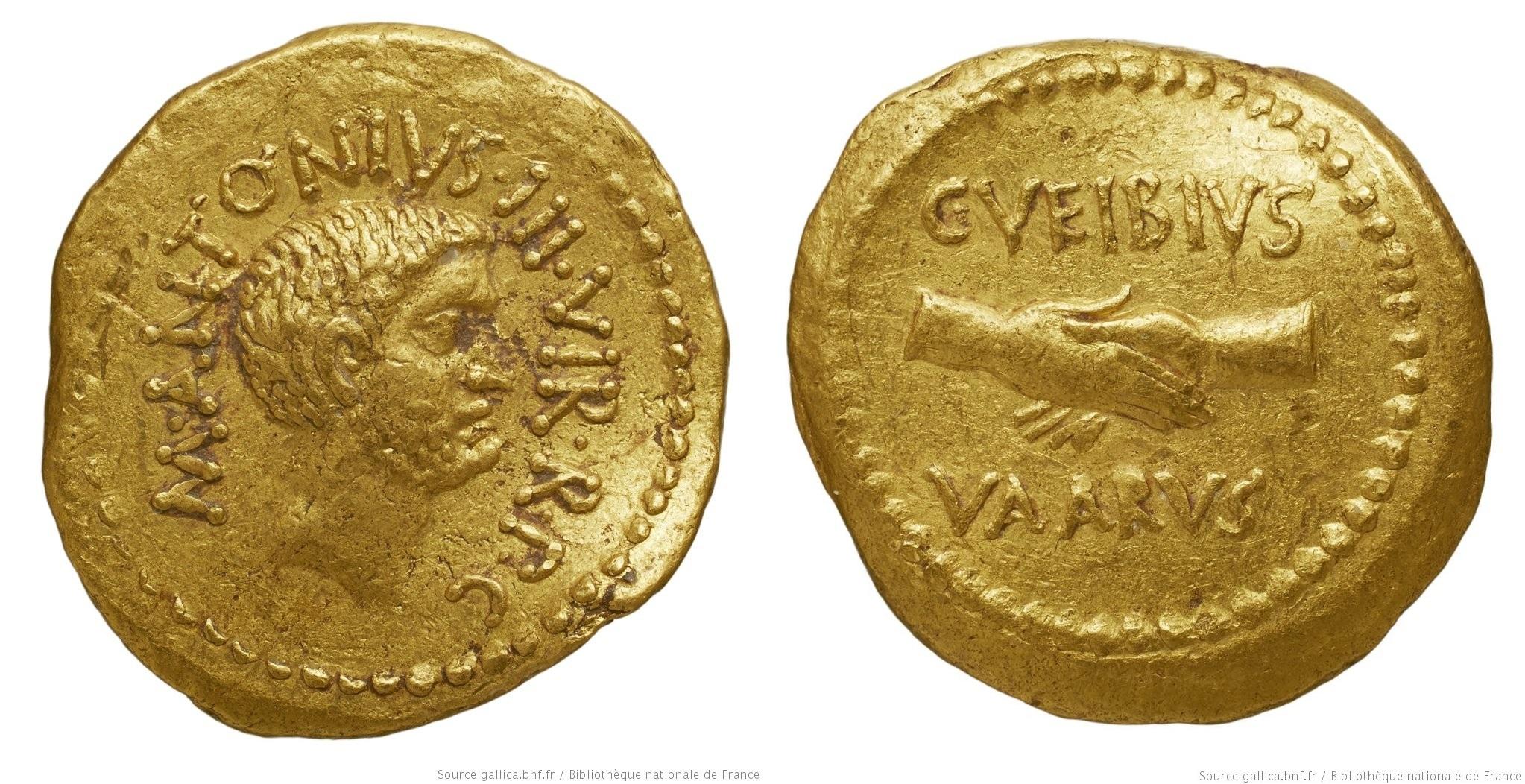 1589AN – Aureus Marc Antoine – Caius Vibius Varus